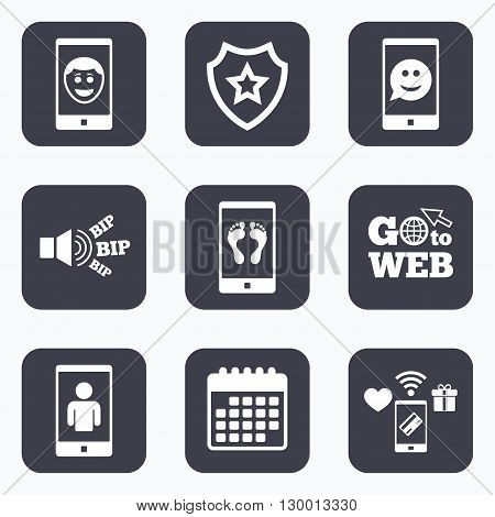 Mobile payments, wifi and calendar icons. Selfie smile face icon. Smartphone video call symbol. Self feet or legs photo. Go to web symbol.