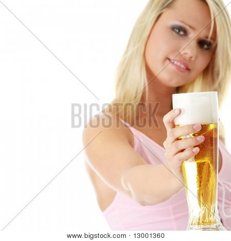 Young attractive blonde in sexy lingerie holding a beer - focus on beer
