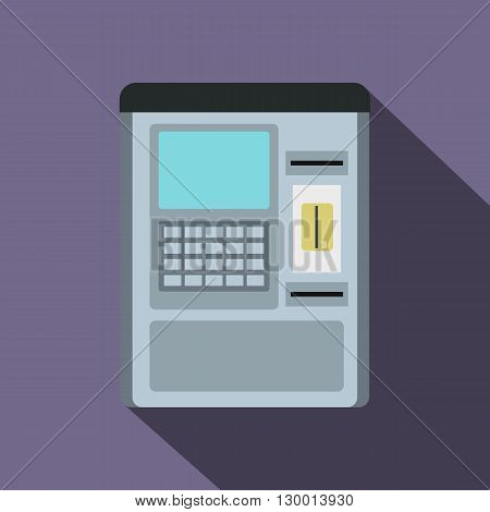 Atm machine icon in flat style on a violet background