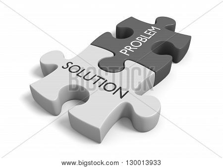Two connected puzzle pieces with the words problem and solution, 3D rendering