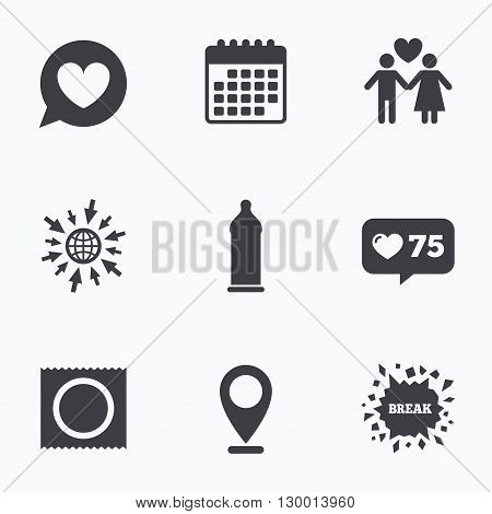 Calendar, like counter and go to web icons. Condom safe sex icons. Lovers couple signs. Male love female. Speech bubble with heart. Location pointer.