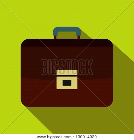 Brown business briefcase icon in flat style on a green background