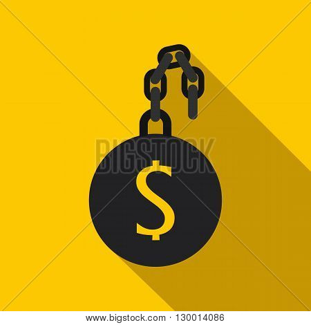 Money slave icon in flat style on a yellow background