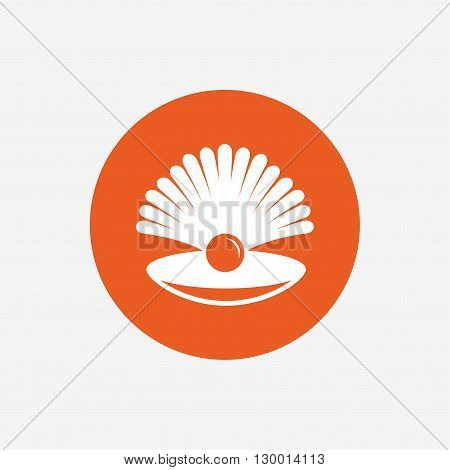 Sea shell with pearl sign icon. Conch symbol. Travel icon. Orange circle button with icon. Vector