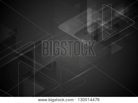 Black tech background with triangles shape. Vector graphic polygonal design