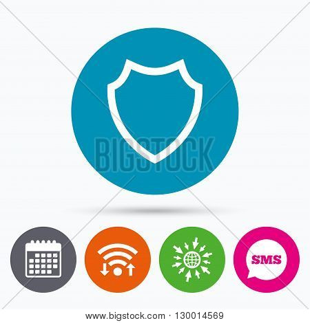 Wifi, Sms and calendar icons. Shield sign icon. Protection symbol. Go to web globe.