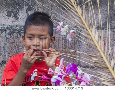 PANCHIMALCO EL SALVADOR - MAY 08 : A Salvadoran boy decorates palm fronds with flowers during the Flower & Palm Festival in Panchimalco El Salvador on May 08 2016