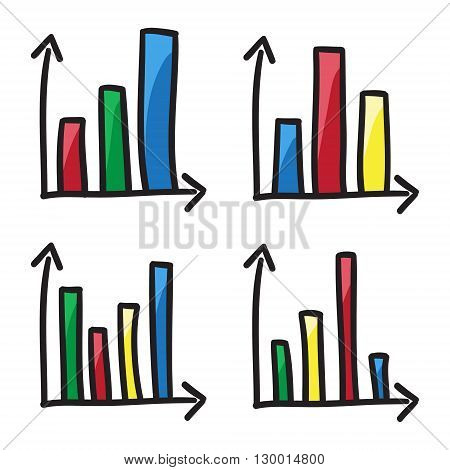 Statistical Diagrams Coordinate System Bars Doodle Graphics Infographic Vector Icon Hand Drawn Illus