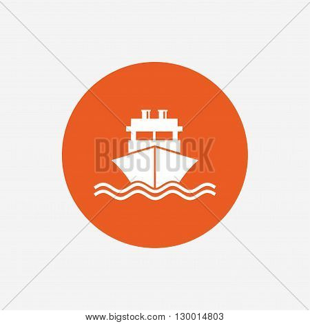 Ship or boat sign icon. Shipping delivery symbol. With chimneys or pipes. Orange circle button with icon. Vector
