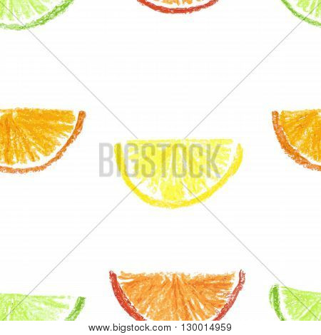 Crayon drawn citrus seamless pattern. Vector illustration.