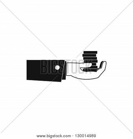 Hand giving money icon in simple style on a white background