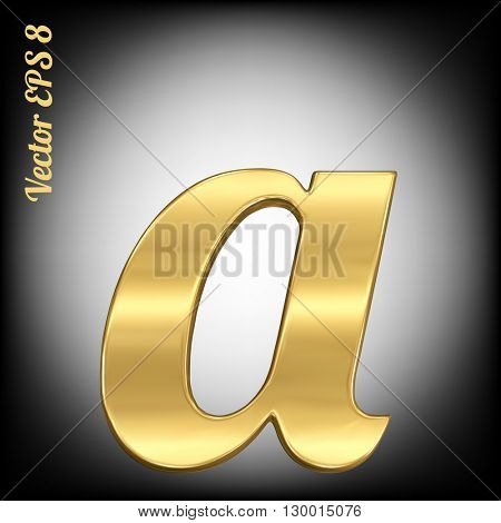 Vector letter a from gold solid alphabet. Eps 8 using mesh.