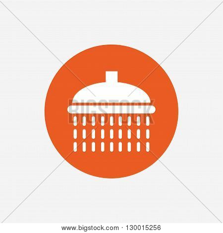 Shower sign icon. Douche with water drops symbol. Orange circle button with icon. Vector