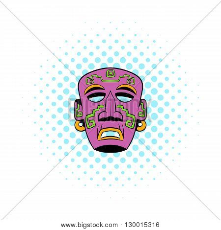 Tribal mask icon in comics style on a white background