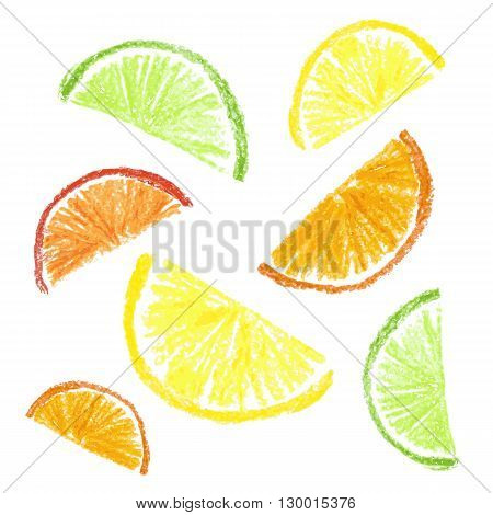 Crayon kids drawn citrus slice isolated. Vector illustration.