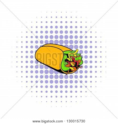 Wrap sandwich icon in comics style on a white background
