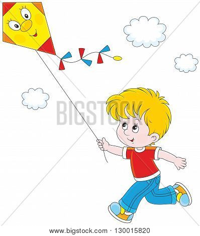 Vector illustration of a boy running and flying his kite