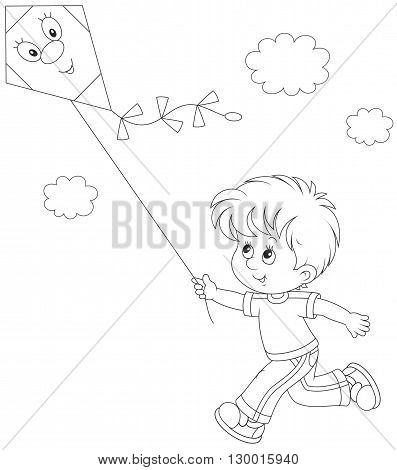 Black and white vector illustration of a boy flying his kite