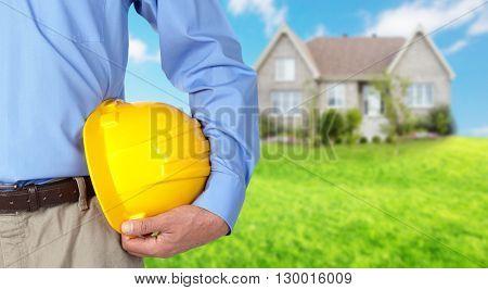Construction worker with helmet.