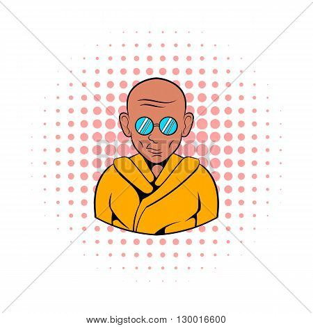 Indian monk in saffron color clothing and sunglasses icon in comics style on a white background