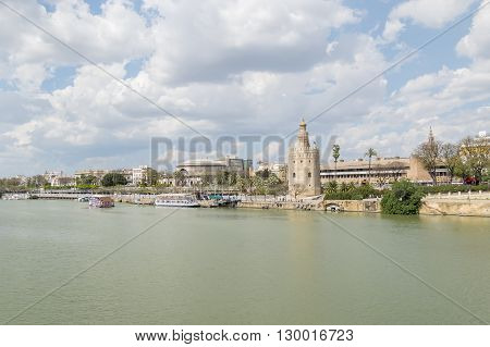 Torre del Oro Sevilla Guadalquivir river Tower of gold Seville Spain