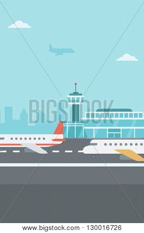 Background of airport with airplanes.