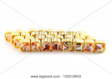 Burrito Maki Sushi Set over White Background