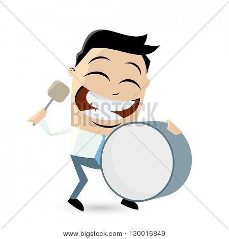 funny cartoon man with big drum