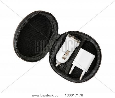 Set of usb car chargers in the circle black box on the white background. Charging devices. Power source. Black box.
