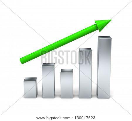 3D Chart, Graph, Diagram. Concept Growth.