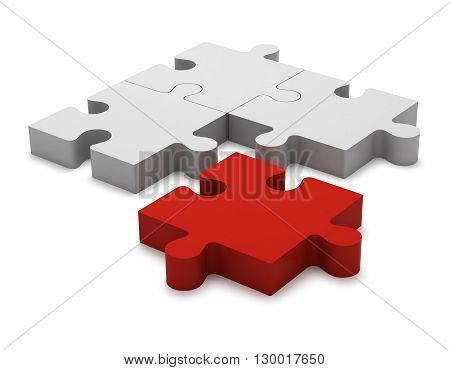 3D Puzzle Pieces. Concept Outcast.