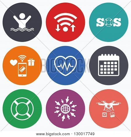Wifi, mobile payments and drones icons. SOS lifebuoy icon. Heartbeat cardiogram symbol. Swimming sign. Man drowns. Calendar symbol.