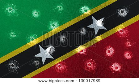 Flag of Saint Kitts and Nevis with glass bullet holes