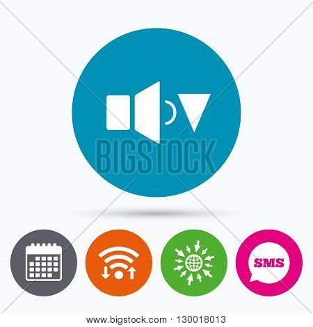 Wifi, Sms and calendar icons. Speaker low volume sign icon. Sound symbol. Go to web globe.