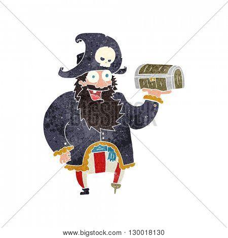 freehand retro cartoon pirate captain with treasure chest