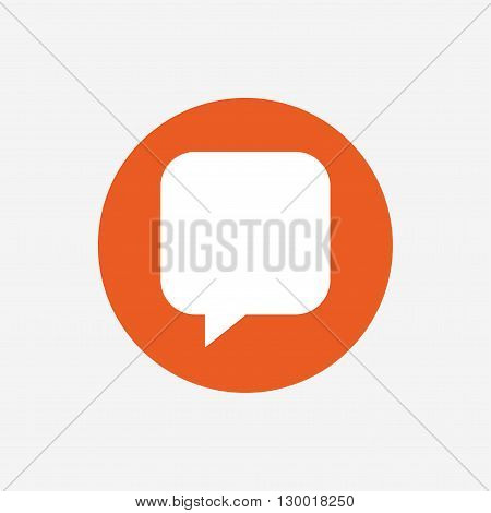 Chat sign icon. Speech bubble symbol. Communication chat bubbles. Orange circle button with icon. Vector