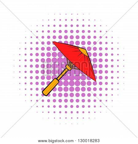 Asian red parasol or umbrella icon in comics style on a white background
