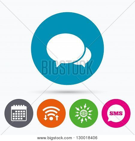 Wifi, Sms and calendar icons. Speech bubbles icon. Chat or blogging sign. Communication symbol. Go to web globe.