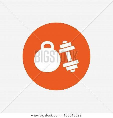 Dumbbell with kettlebell sign icon. Fitness sport symbol. Gym workout equipment. Orange circle button with icon. Vector