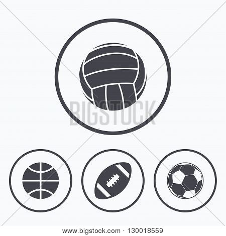 Sport balls icons. Volleyball, Basketball, Soccer and American football signs. Team sport games. Icons in circles.