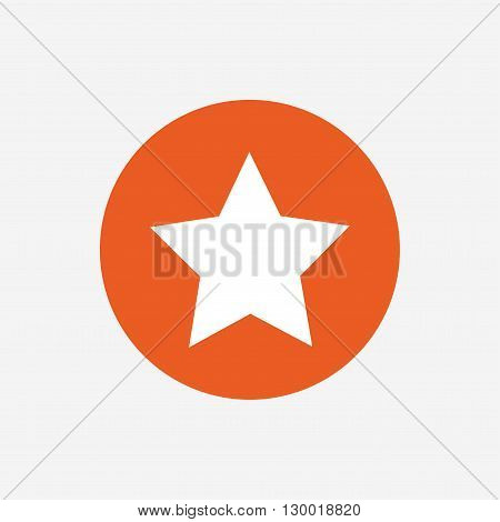 Star sign icon. Favorite button. Navigation symbol. Orange circle button with icon. Vector