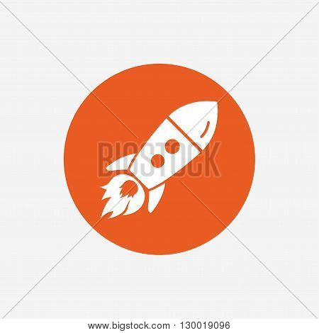 Start up icon. Startup business rocket sign. Orange circle button with icon. Vector
