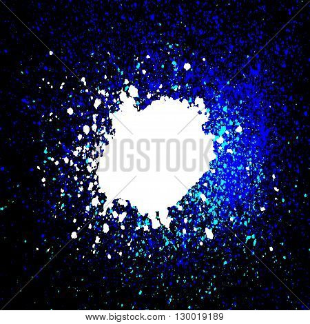 Colorful acrylic paint splatter blob on black background. Neon spray stains abstract background vector illustration.