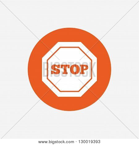 Traffic stop sign icon. Caution symbol. Orange circle button with icon. Vector