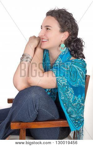 Young Woman On Chair Smiling