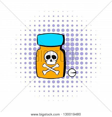 Bottle with poison icon in comics style isolated on white background