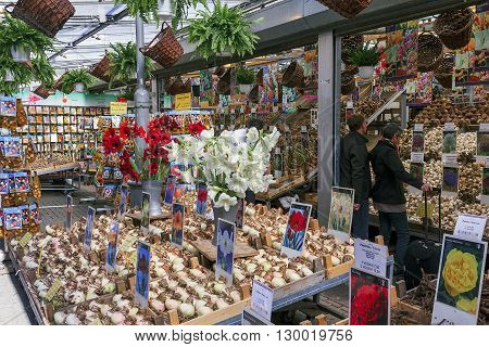 Amsterdam, Netherlands - May 5: It is the famous flower market in Amsterdam where you can buy almost any tubers garden flowers May 5, 2013 in Amsterdam, Netherlands.
