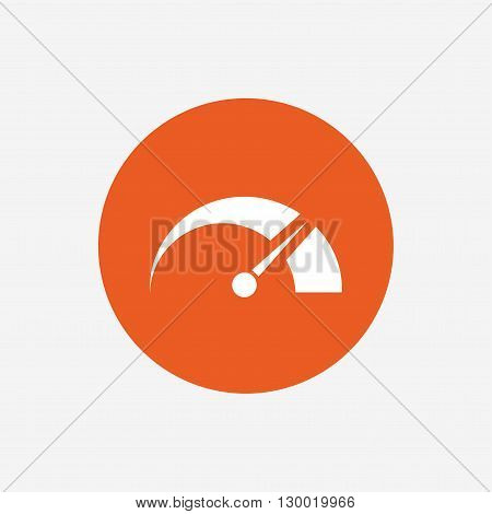 Tachometer sign icon. Revolution-counter symbol. Car speedometer performance. Orange circle button with icon. Vector