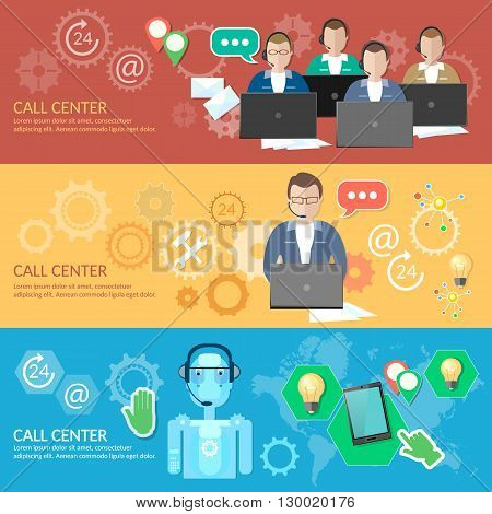 Call center banner 24 hours helpline operator with headphones professional technical support robotic system vector illustration