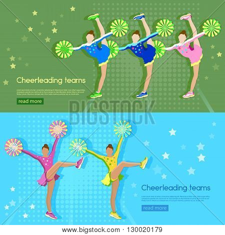 Cheerleading team banner girl cheerleaders dancing school sports championship vector illustration